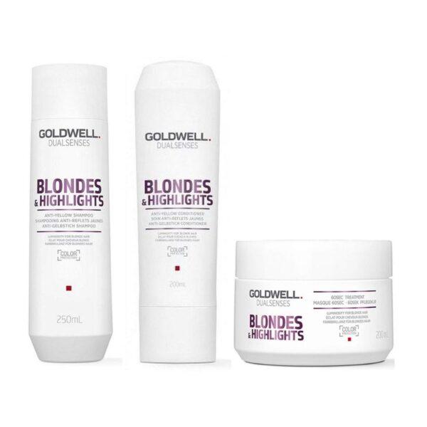 Goldwell Dualsenses Blondes & Highlights Champú 250ml + Acondicionador 200ml + Mascarilla 200ml