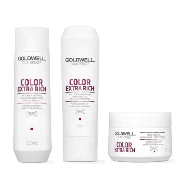 Goldwell Dualsenses Color Extra Rich Champú 250ml + Acondiconador 200ml + Mascarilla 200ml