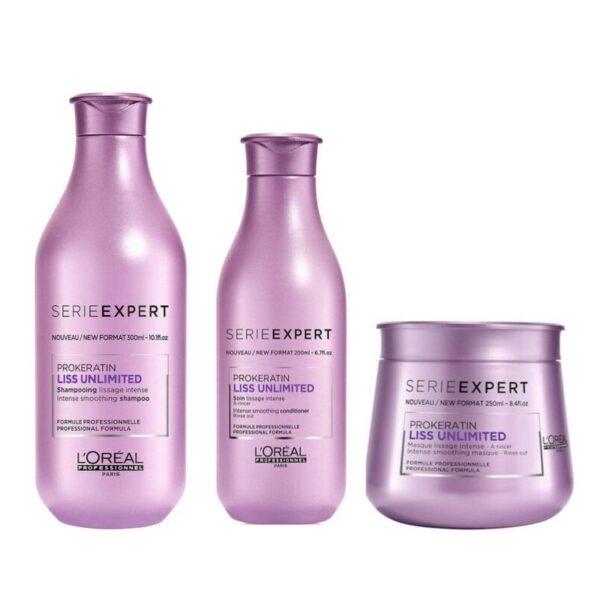 L´Oreal Serie Expert Prokeratin Liss Unlimited Champú 300ml + Acondicionador 200ml + Mascarilla 250ml