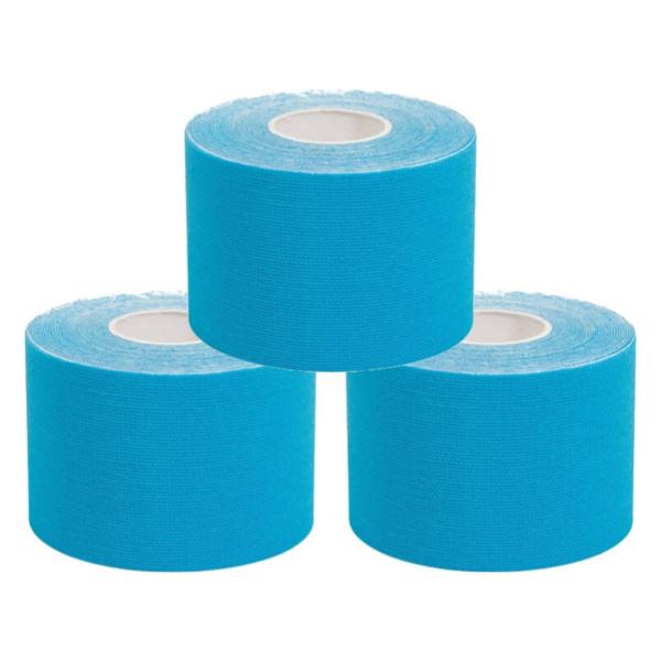 Cinta Kinesiología Tape 5cm X 5m Cinta Muscular ( 3 Unidades, Azul)