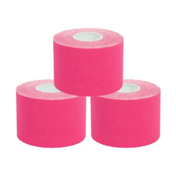 Cinta Kinesiología Tape 5cm X 5m Cinta Muscular (3 Unidades, Rosa)