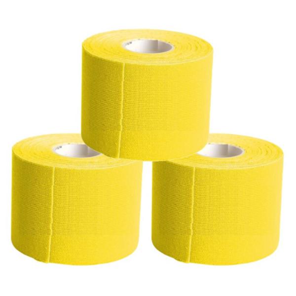 Cinta Kinesiología Tape 5cm X 5m Cinta Muscular ( 3 Unidades, Amarillo)