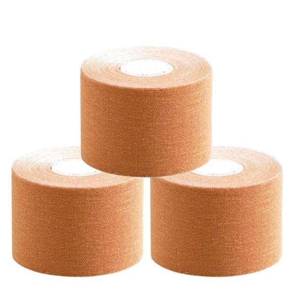 Cinta Kinesiología Tape 5cm X 5m Cinta Muscular ( 3 Unidades, Beige)