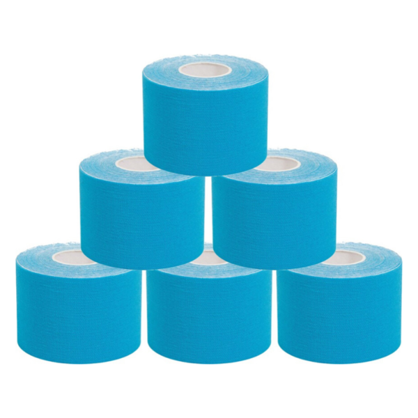 Cinta Kinesiología Tape 5cm X 5m Cinta Muscular ( 6 Unidades, Azul)