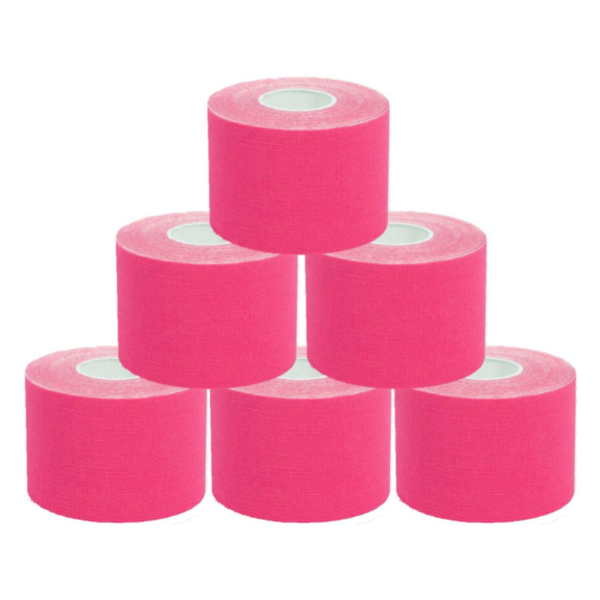Cinta Kinesiología Tape 5cm X 5m Cinta Muscular (6 Unidades, Rosa)
