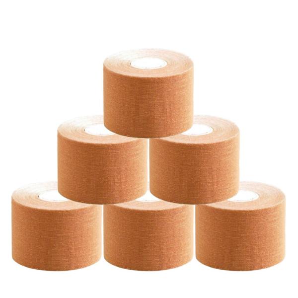 Cinta Kinesiología Tape 5cm X 5m Cinta Muscular ( 6 Unidades, Beige)