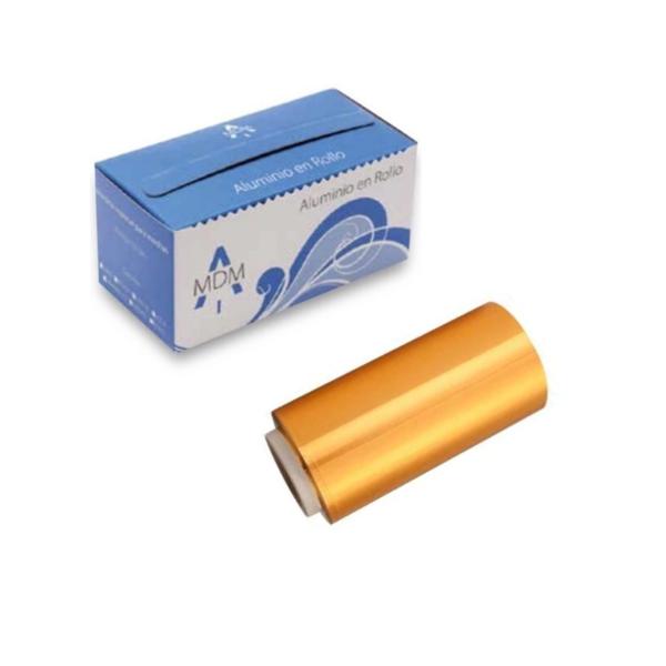 Rollo De Papel Aluminio Para Mechas con dispensador 12cm x 70 Mts (ORO)
