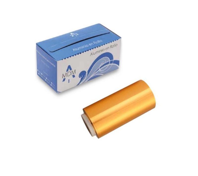 KC Rollo De Papel Aluminio Para Mechas con dispensador 12cm x 70 Mts ORO