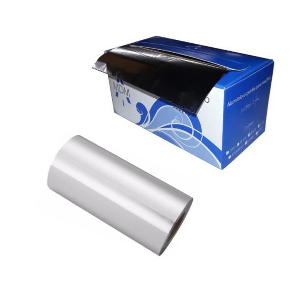 Rollo De Papel Aluminio Para Mechas con dispensador 12cm x 70 Mts (Plata)