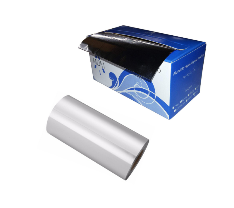 KC Rollo De Papel Aluminio Para Mechas con dispensador 12cm x 70 Mts (Plata)