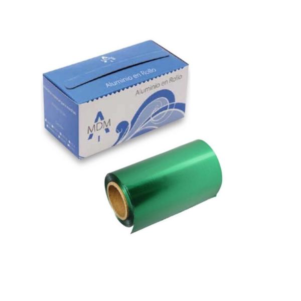 Rollo De Papel Aluminio Para Mechas con dispensador 12cm x 70 Mts (Verde)