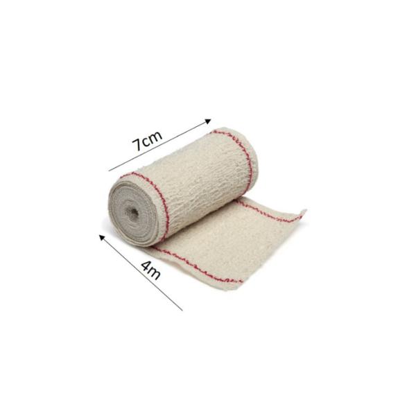 Venda Elástica De Crepe Sin Látex Para Soporte, Fijación Y Reposo, Bordes Tejidos (Cn 100 Gr/M2, 7cmx4m)
