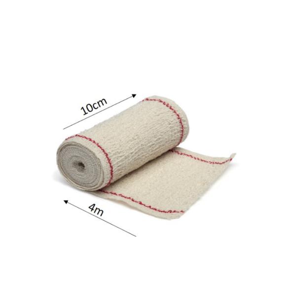 Venda Elástica De Crepe Sin Látex Para Soporte, Fijación Y Reposo, Bordes Tejidos (Extra 85 Gr/M2, 10cmx4m)