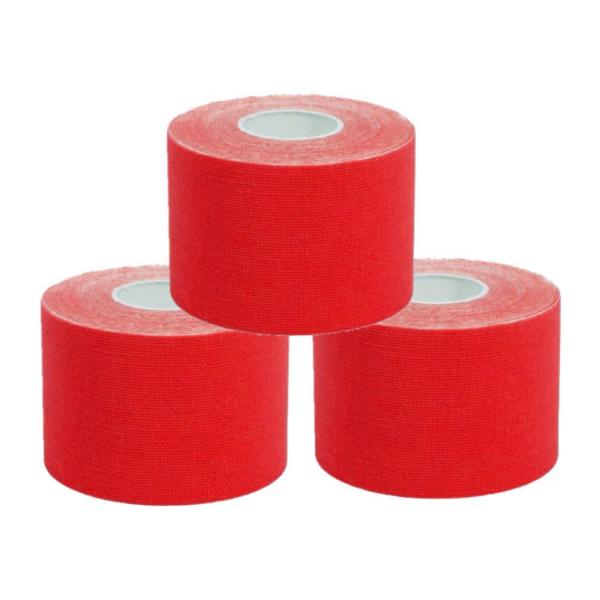 Cinta Kinesiología Tape 5cm X 5m Cinta Muscular (3 Unidades, Rojo)