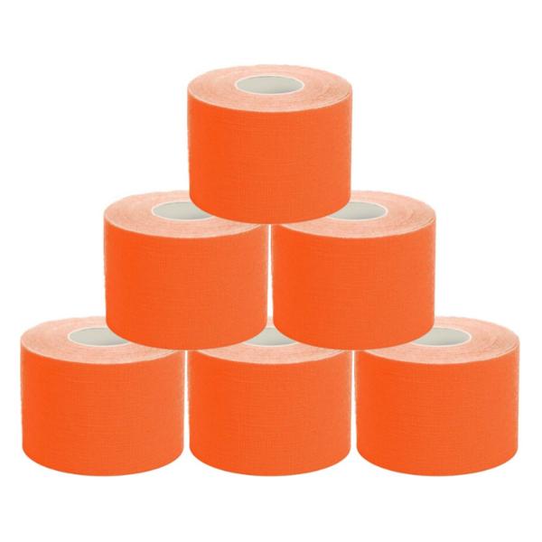 Cinta Kinesiología Tape 5cm X 5m Cinta Muscular (6 Unidades, Naranja)