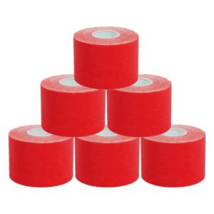 kc Cinta Kinesiología Tape 5cm X 5m Cinta Muscular 6 Unidades Rojo