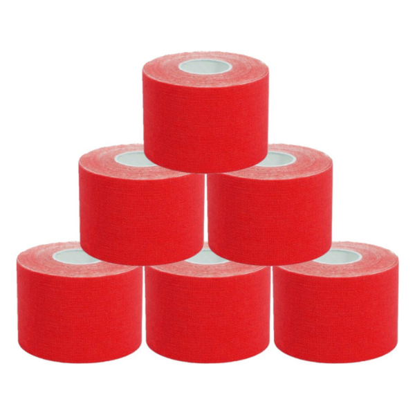 Cinta Kinesiología Tape 5cm X 5m Cinta Muscular (6 Unidades, Rojo)