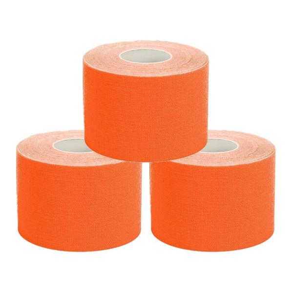 Cinta Kinesiología Tape 5cm X 5m Cinta Muscular (3 Unidades, Naranja)