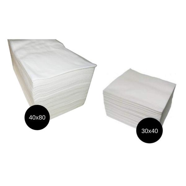 Toallas Spun-Lace Desechables 40×80 cm 100 Unidades Blancas + Toallas Manicura 30×40 cm 100 Unidades Blancas