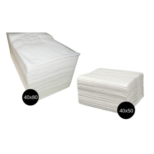 Toallas Spun-Lace Desechables Blancas 40x80cm 100 Unidades + Toallas Pedicura blancas 40x50cm 100 Unidades