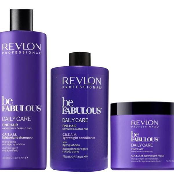 Revlon Be Fabulous Texture Daily Care Cabello Fino Champú 1000ml + Acondicionador 750ml + Mascarilla 500ml