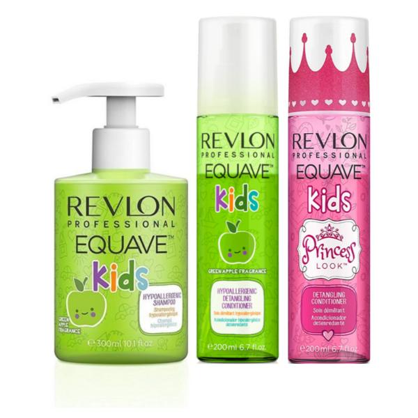 Revlon Equave Kids Champú Green Apple 300ml + Acondicionador Green Apple 200ml + Acondicionador Princess Look 200ml