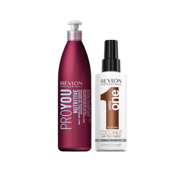 Revlon Pack Champú Pro You Nutritive 350ml + Uniq One Tratamiento Coconut 150ml