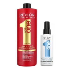 Revlon Uniq One Champú y Acondicionador 1000ml + Tratamiento Lotus 150ml