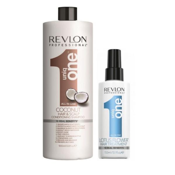 Revlon Uniq One Champú y Acondicionador Coconut 1000ml + Tratamiento Lotus 150ml