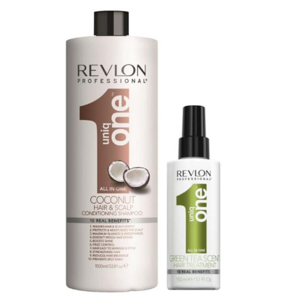 Revlon Uniq One Champú y Acondicionador Coconut 1000ml + Tratamiento Te Verde 150ml