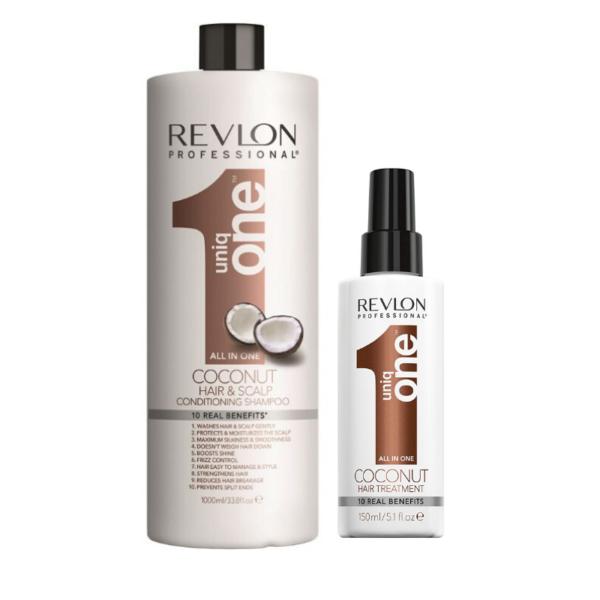Revlon Uniq One Coconut Champú y Acondicionador 1000ml + Tratamiento 150ml