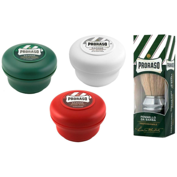 Proraso Shaving Soap Bowl Mixed Triple Pack 3 x 150ml +Proraso Shaving Soap Bowl Mixed Triple Pack 3 x 150ml + Brocha para afeitado