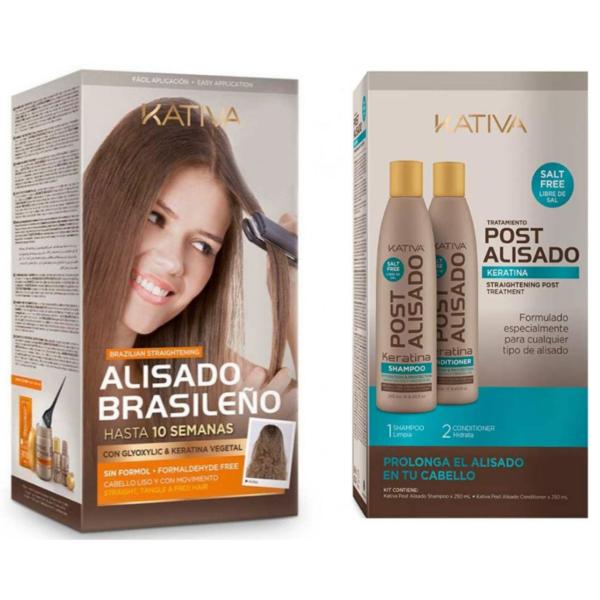 Kativa Alisado Brasileño Tratamiento 2 x 225ml + Post Alisado 2 Keratina 500ml