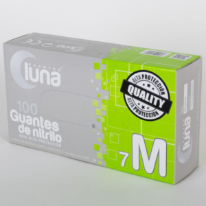 Luna Guantes de Nitrilo Alta Protección Sin Polvo Color Azul Caja de 100 Unidades