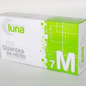 Luna Guantes de Nitrilo Sin Polvo Color Blanco Caja de 100 Unidades