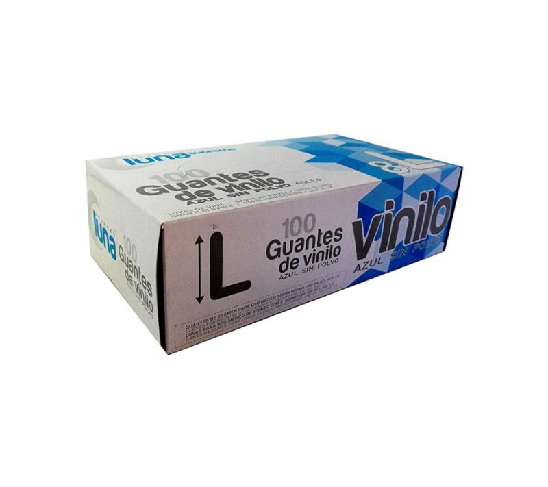 Luna Guantes de Vinilo Sin Polvo Color Azul Caja de 100 Unidades TALLA L