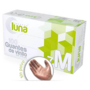 Luna Guantes de Vinilo Sin Polvo Color Transparente Caja de 100 Unidades