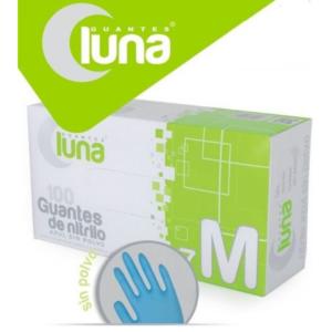 Luna Guantes de Nitrilo Sin Polvo Color Azul Caja de 100 Unidades