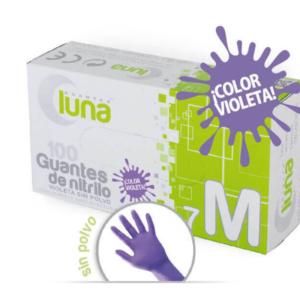 Luna Guantes de Nitrilo Sin Polvo Color Violeta Caja de 100 Unidades