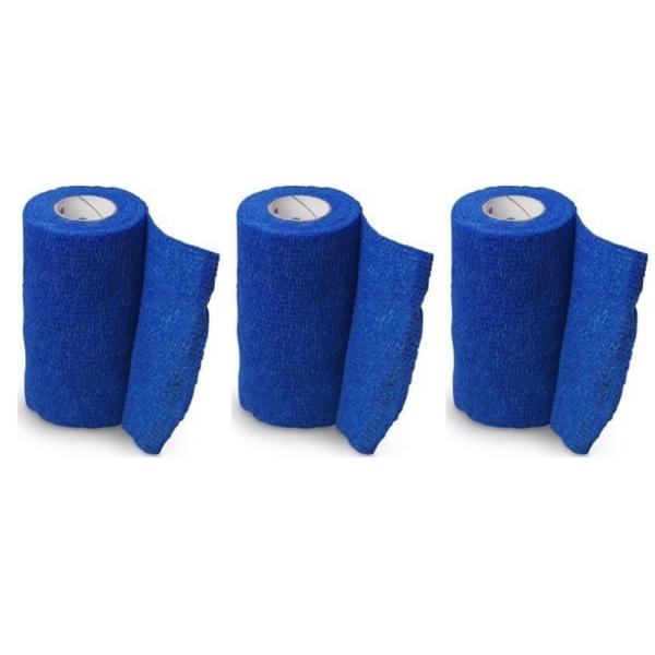 Venda Elástica Cohesiva Nt 10cm x 4,5m Latex Color Azul 3 Unidades