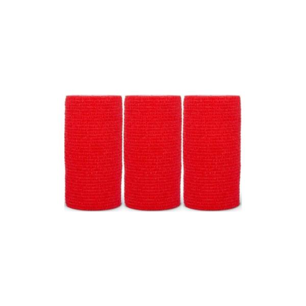 Venda Elástica Cohesiva Nt 10cm x 4,5m Latex Color Rojo 3 Unidades