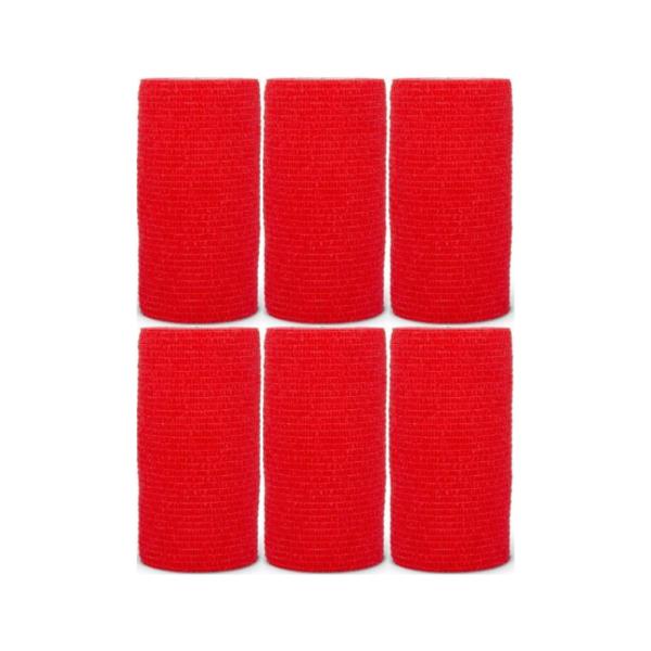 Venda Elástica Cohesiva Nt 10cm x 4,5m Latex Color Rojo 6 Unidades