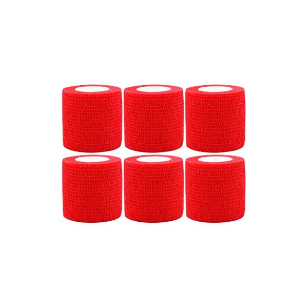 Venda Elástica Cohesiva Nt 5cm x 4,5m Latex Color Rojo 6 Unidades