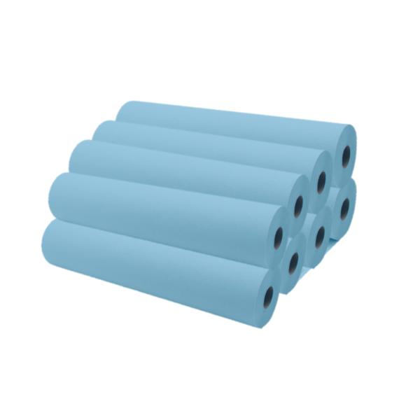 Rollos De Papel Camilla 75 a 80 Metros Aproximadamente Color Azul 8 Unidades