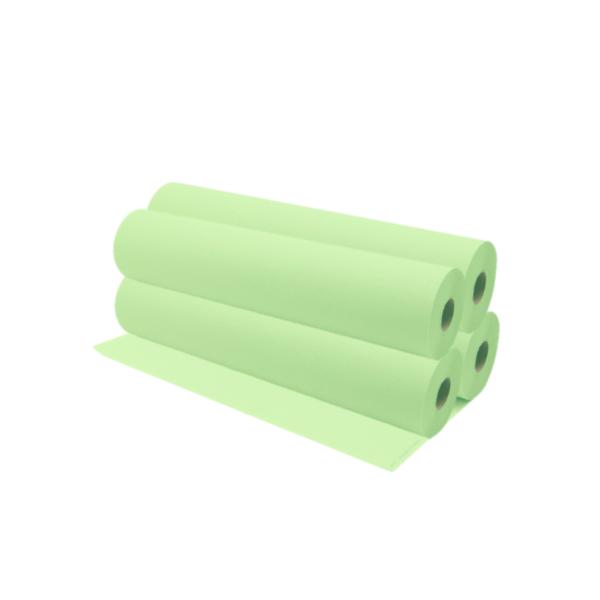Rollos De Papel Camilla 75 a 80 Metros Aproximadamente Color Verde Lima 4 Unidades