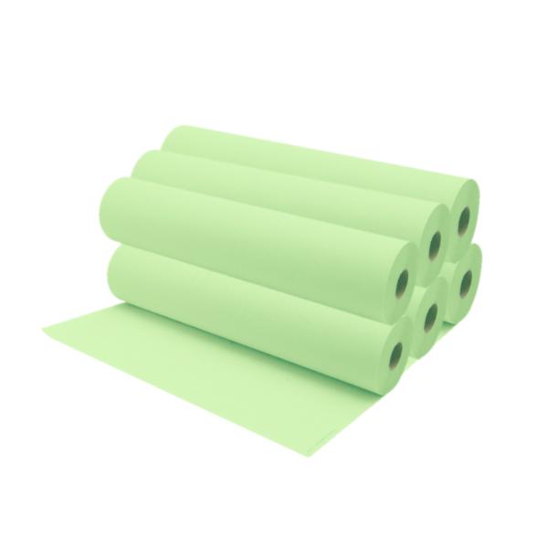 Rollos De Papel Camilla 75 a 80 Metros Aproximadamente Color Verde Lima 6 Unidades