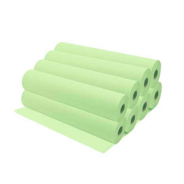 Rollos De Papel Camilla 75 a 80 Metros Aproximadamente Color Verde Lima 8 Unidades