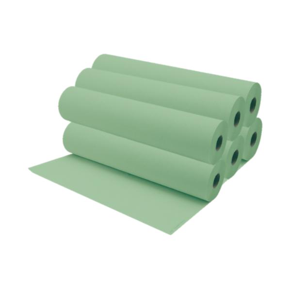 Rollos De Papel Camilla 75 a 80 Metros Aproximadamente Color Verde 6 Unidades