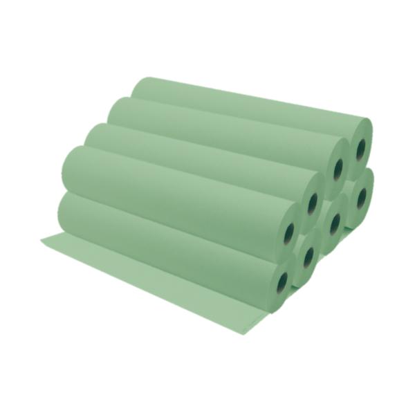 Rollos De Papel Camilla 75 a 80 Metros Aproximadamente Color Verde 8 Unidades
