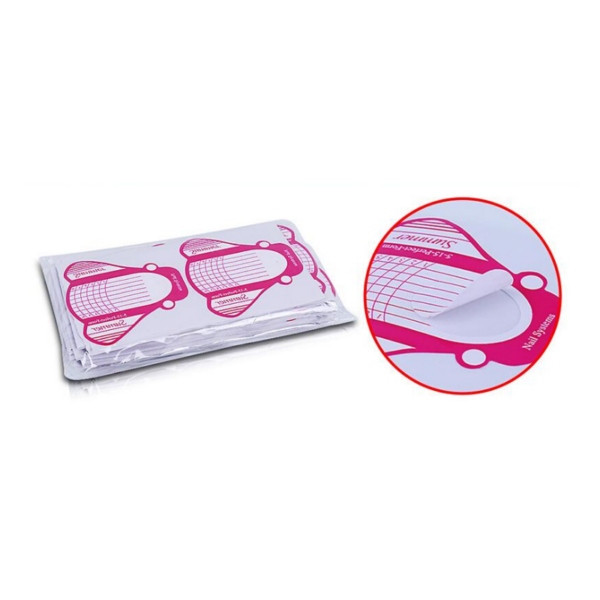 Autoadhesivo Pegatinas Formas Para La Guía De Extensión De Uñas De Gel Uv 500 Unidades Color Blanco